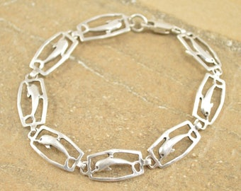 Dolphin Cut Out Hinged Bracelet Sterling Silver 8g