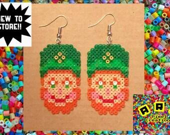 St.Patricks Day Hama Leprechaun Earrings