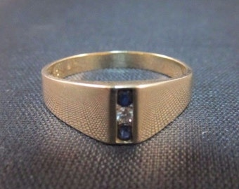 Vintage 14k Yellow Gold Ring by LIBCO with Genuine Diamond and Dark sapphires!
