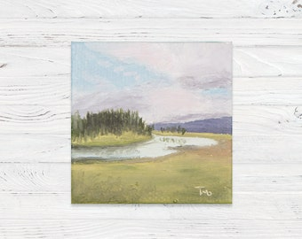 Mini Oil Landscape Painting of Wyoming Field with Mini Easel - Landscape Painting - Oil Painting - Painting - Painting on Canvas