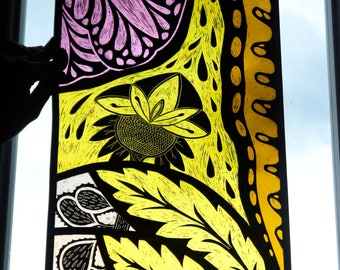 Stained-Glass/leaded-glass/decor/Crafts/Art/Magic Light/Window/Furniture/Ornament/Home/Flowers/