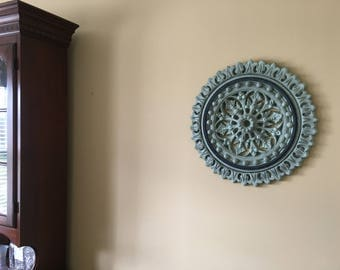 """Hand painted ceiling or wall medallion 18 1/2"""" diameter  ***SHIPS FREE to lower 48 states***"""