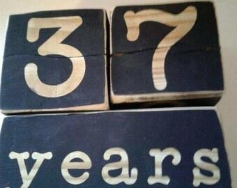 Set of Custom Large Wooden Natural Letters Baby Age Blocks - Milestone Blocks - Photo Prop - Keepsake - Wood - Shower Gift - age blocks