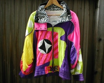 RARE Vintage 1980's Neon Nylon Winbreaker Jacket Saks Fifth Avenue Mens Large Size L 5th Ave