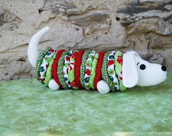 Stuffed Christmas Daschund Stretchable and Squeezable