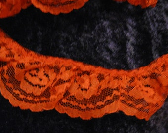 3 yards Lace Trim Ruffled  red