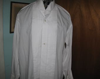 Stafford Formal Shirts  White Pleated French Cuff Tuxedo Shirt 18  34-35 Wing Collar