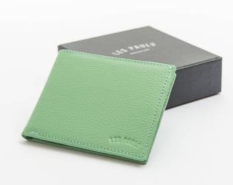Leather Wallet / Light Green & Light Blue