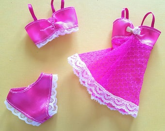Purple Dark Pink Satin and Lace Lingerie Undergarments for Barbie or Similar Sized Dolls (Ref LE)