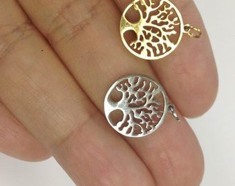 Stainless Steel Tree of Life Charm, gold or silver Tree Of Life charm, Stainless Charm