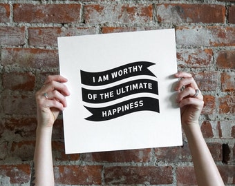 "Typographic Print - 12"" x 12"" - Black & White - Ultimate Happiness"