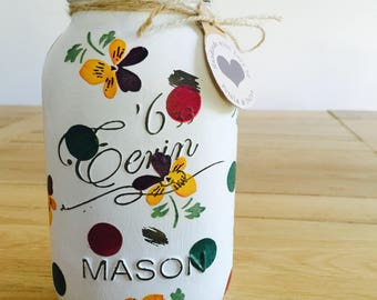 Handmade Emma Bridgewater Polka Pansy Mason Jar