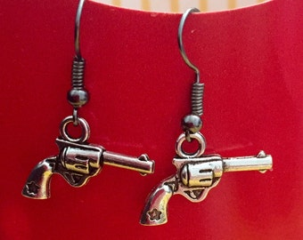 Revolver Gun Earrings
