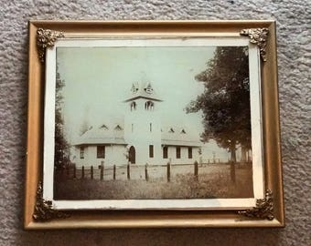 Vintage Church Photo in gorgeous frame