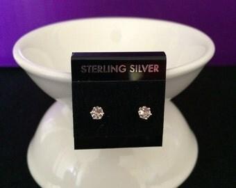 White Topaz 3mm Gemstones and Sterling Silver Stud Earrings