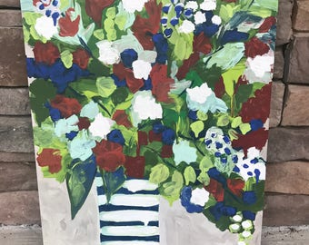 """Abstract """"Vase of Flowers"""", Original Painting on a 14x18 Canvas Panel"""