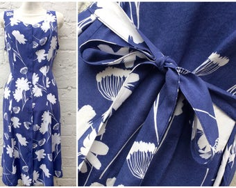 Blue floral dress, vintage women's fashion, 80's summer outfit
