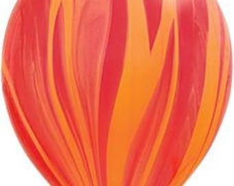 Fiery Agate Balloons | Set of Five Balloons | Red and Orange Agate Balloons | Yellow Agate Balloons