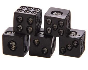 Set of 5 Six-Sided Skull Dice   Macabre Dice   Black Skull Dice