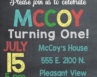 Custom Chalkboard Birthday Party Invitation