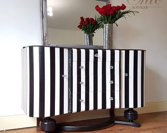 Black and white, statement, unique striped sideboard