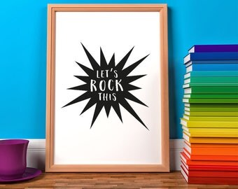 Let's Rock This Framed Print, Children's Print, Nursery Playroom Print, Rock, Explosion, Noise Print, A4/A3, Kids Print