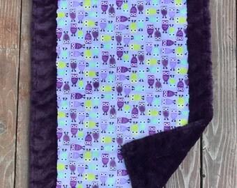 """Owl Minky Blanket - Purple Minky - Baby Blanket (28""""x38"""")"""