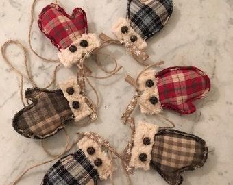 Mitten garland, Primitive Christmas garland, Christmas, Rustic Primitive, Winter decoration, Winter, Primitive decor
