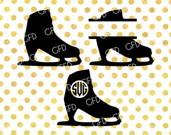 Ice Skates Monogram Frame SVG, Ice Skates Clipart, Ice Skating Svg, Ice Skates Digital Cut File, Instant Download, Svg, Dxf, Jpg, Eps, Png