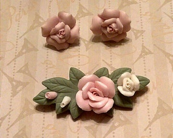 Vintage Pink Floral Porcelain Brooch Earring Demi Parure, Mid Century Ceramic and Enamel Brooch Earring Set, Accessories, Boutique
