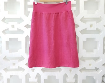 Hot Pink Linen Hand Dyed Skirt With Stretch Waistband