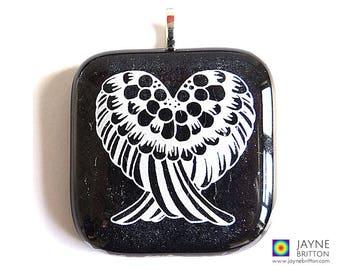 Angel Wings Pendant, white on sparkling black glass, Angel heart, glittering fused glass, iridescent glass, spiritual gift
