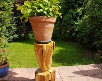 Handmade unusual oak wood plant stand for patio or conservatory
