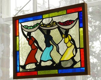 3 Ladies Stained Glass panel/Sun Catcher