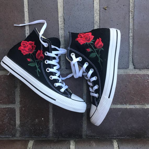 Custom rose embroidery converse chucks high top size