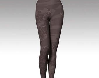 Brown Tubaki yoga leggings