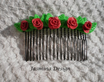 SALE! - Hair comb with polymer clay shiny red roses - idea for gift
