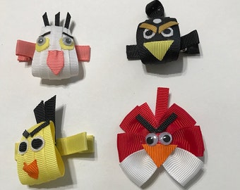 Angry Birds Inspired  Grosgrain Ribbon Sculpture Art Hair Bow Clippie Hair Clip Set of 4!