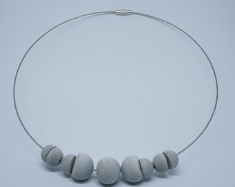 Necklace Choker sphere   half sphere   cement   light   round neck cable