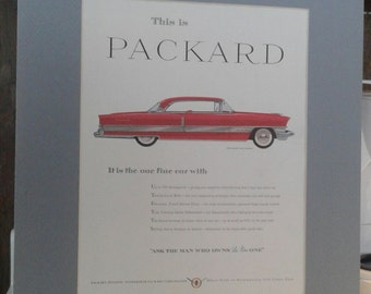 Matted Vintage magazine print of a 1956 Packard Four Hundred - Free Shipping