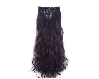 """Brown Hair Extensions Dark Brown Remy Human Clip In Hair Extensions 24"""" Long Curly Wavy Best Hair Weave Micro Halo Tape Wig"""