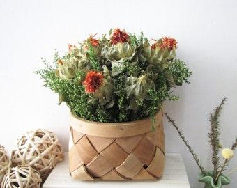 Dried Flowers Arrangement, Dried Flower Basket, Dried Safflower, Rustic Home Decor, Wall Decor, Rustic Mantel Decoration, Wedding Decor