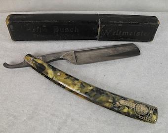 Rare Otto Busch Weltmeister razor, vintage straight razor, original box, antique razor with engraved blade