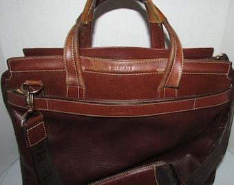 """Vintage  superbe brown handbag leather briefcase, laptop messenger  la tour eiffel  Paris       size  12"""" X 16"""" approx."""