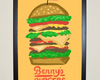 Stranger Things Poster - Benny's Burgers