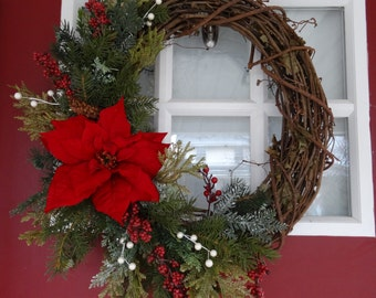 Red Berries and Poinsettia Wreath