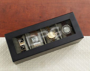 Personalized Engraved Initials Black Watch Box Custom Name Gift