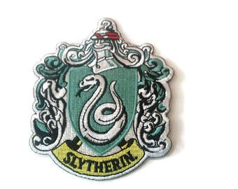 Harry Potter Slytherin snake embroidered patch-heat sealed-iron on-sew on backing-size 4 X 3