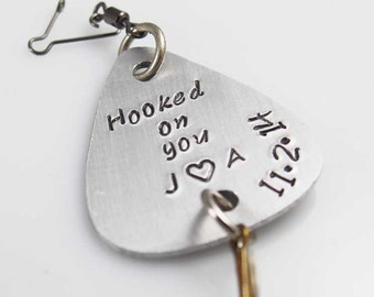 Hooked on You, Custom Fishing Lure, Gift for Boyfriend, Fishermans Gift, Personalized Lure, Gift for Him, Anniversary Men Gift, Engrave Lure