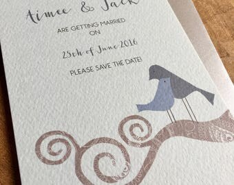 Blue and grey love birds save the date card- Sample